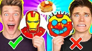 PANCAKE ART CHALLENGE Mystery Wheel & Learn How To Make Avengers Wreck It Ralph 2 Diy Fortnite