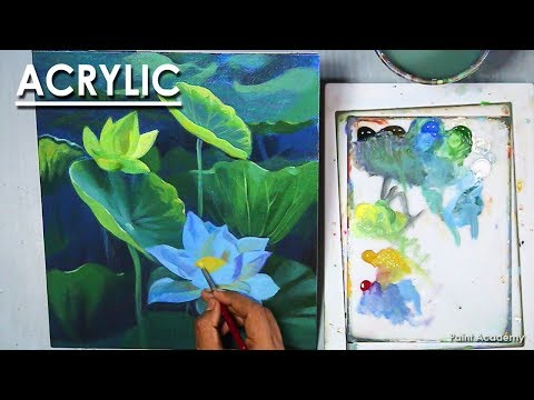 Acrylic Painting : Lotus Flowers | step by step