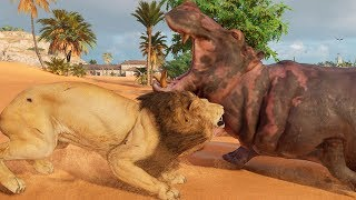 Assassin's Creed: Origins - Lion vs Hippopotamus - Open World Free Roam Gameplay HD