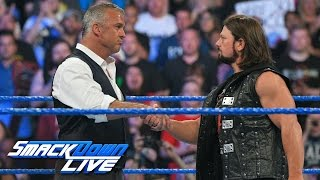 "Shane McMahon & AJ Styles shake hands before the ""Superstar shake-up"": SmackDown LIVE, April 4, 2017"