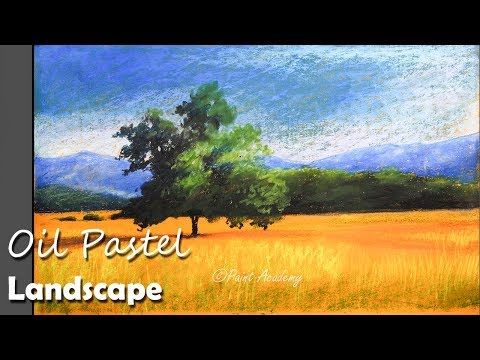 Bright Sunny Day Oil Pastel Landscape | Beautiful paddy field, trees and mountains painting