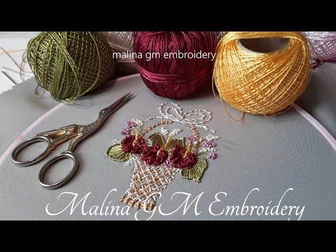 Brazilian Embroidery   Flower Basket   Knotted Cast-on Stitch