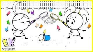 "Emma & Kate ""Catching Butterflies"" - EK Doodles Funny Cartoon Animation"