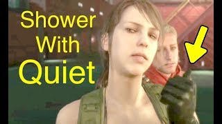 MGSV: Phantom Pain - Shower with Quiet Easter Egg (Metal Gear Solid 5)