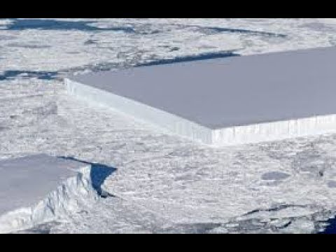 NASA Operation Icebridge: Flight Over a Rectangular Iceberg in the Antarctic