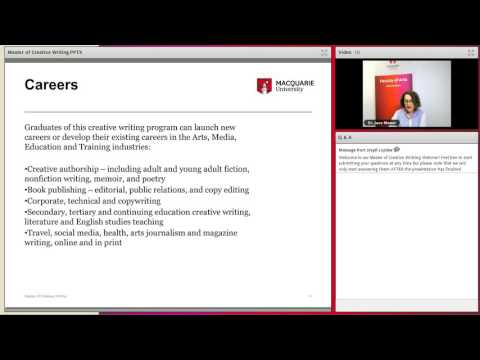 Master of Creative Writing Webinar