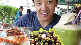 Thai STREET FOOD Tour of Or Tor Kor Market in Bangkok Thailand! width=