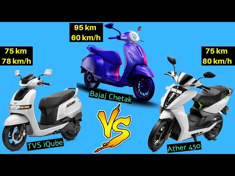 TVS iQube vs Ather 450 vs Bajaj Chetak Electric Scooter Comparison