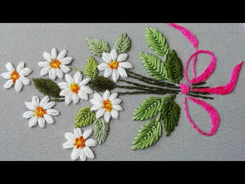 Hand Embroidery: Daisy flower 🌼 Вышивка: Ромашки