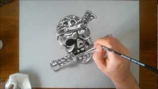 Speed Drawing: Pirate Skull - How to draw 3D art