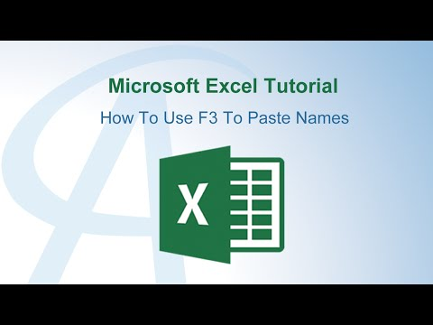 How To Use F3 To Paste Names In Excel