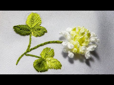 White clover flowers | 1 technique and 2 ways embroidery