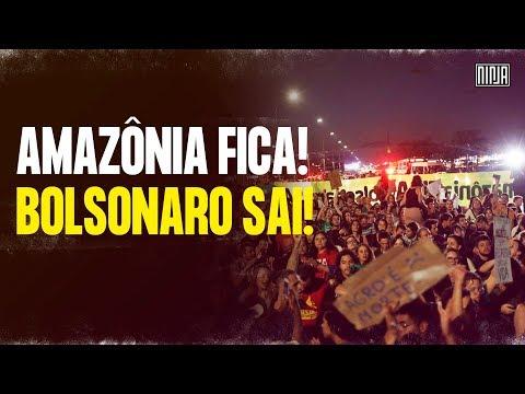 Em frente ao Ministério do Meio Ambiente, manifestantes protestam em defesa da Amazônia