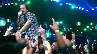 Ed in pit for end of Pearl Jam Porch Live Charlotte 2013