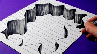 How to Draw a Hole in Line Paper - 3D Trick Art for Beginners