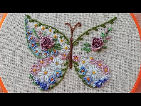 Floral embroidery : Flower Butterfly | easy stitch