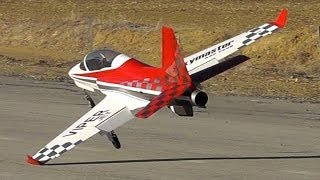 Viper Jet BAD Landing & Go-around at R/C Airfield -Wingstrike-Taxi and Shutdown