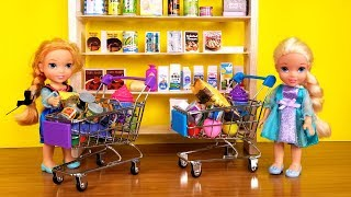 GROCERY store ! Elsa and Anna toddlers go shopping - Barbie is store manager