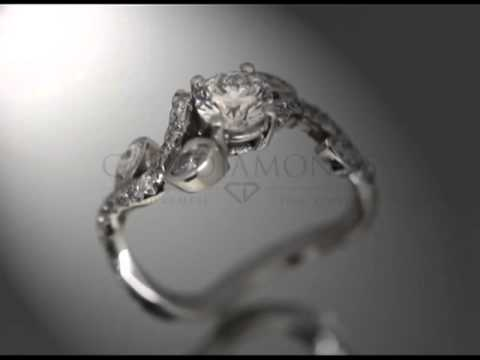 Complex stone ring,round diamond,4 pear shaped diamonds,diamonds on twisted band,engagement ring