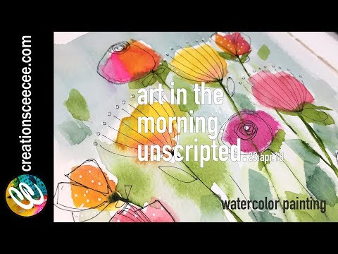 from abstract watercolor floral painting to doodles