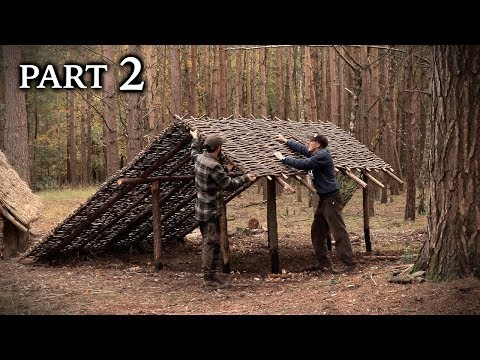 Building a Viking Turf Roof House: Roof Frame - Bushcraft Project (PART 2)