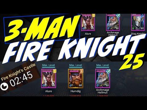3-man FK25 teams + slow speed alure, no SEER teams. Raid Shadow Legends Fire Knight 25 speed runs