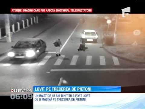 Un tânăr a fost lovit de o maşină pe trecerea de pietoni