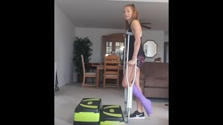 tutorial using underarm crutches while in a cast - girl wearing a tiptoe-cast
