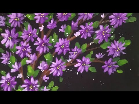Blossoming Branches Acrylic Painting Demonstration time-lapse