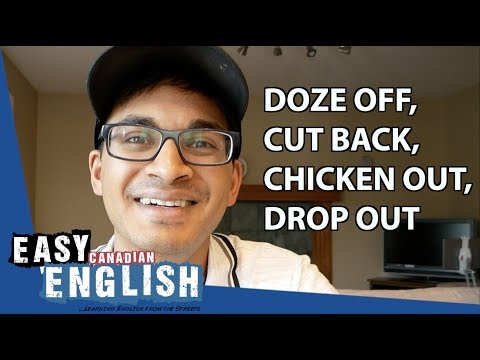 Phrasal Verbs in English 3: doze off, cut back, chicken out, drop out | Super Easy English 13 photo