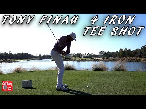 TONY FINAU 4 IRON PAR 3 TEE SHOT SLOW MOTION GOLF SWING 1080 HD