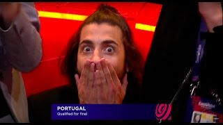 Salvador Sobral's REACTION when Portugal is qualified for the final of Eurovision 2017
