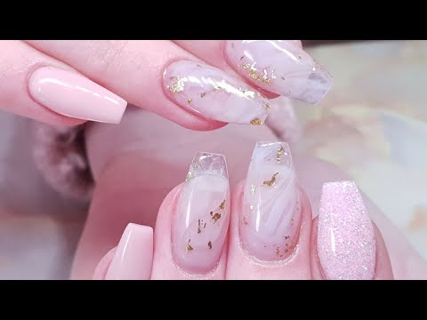 Delicate Marble and Pearl Glitter Acrylic Extensions
