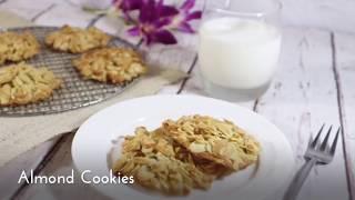คุ๊กกอัลมอนด์ (สูตรไร้แป้ง) No Flour Almond Cookies  สูตรอาหาร วิธีทำ แม่บ้าน