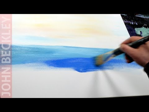 Abstract Seascape Painting Demo with acrylic and palette knife | Sunrise