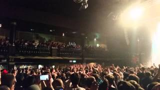 Loz of While She Sleeps. Balcony Dive to Crowd Surf. Manchester The Ritz 23/04/15