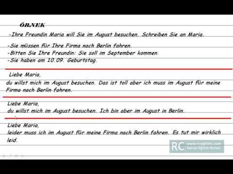 Almanca mektup yazma kuralları