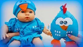 Meu Bebê Galinha Pintadinha Mini Boneca Com Travesseiro