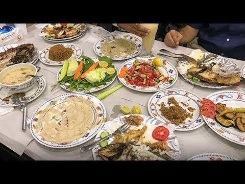Preparing to film dinner in Alexandria, Egypt