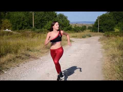 hot sexy Nina and Alex wetlook legging running duel