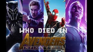 Characters who died in Avengers: Infinity War