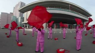 Propaganda team performs on the streets of Pyongyang in 360