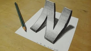 How to Draw 3D curved Letter N - Trick Art With Graphite Pencils - Inverse Perspective