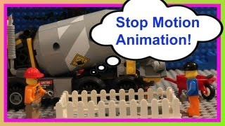 LEGO City Cement Mixer 60018: Is this Lady an Incompetent Idiot?  (Stop Motion Animation)