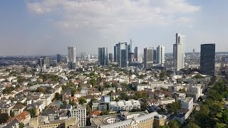 Frankfurt City Skyline View from the 25th floor of the Frankfurt Marriott Hotel in Germany