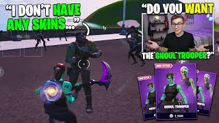 I Gifted My RANDOM DUO His FIRST SKIN on Fortnite (it was a Ghoul Trooper!)