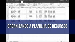 Organizando a Planilha de Recursos com Microsoft Project Professional
