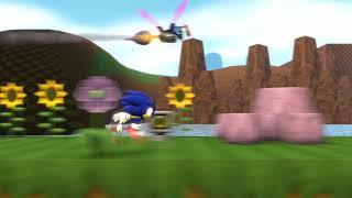 Sonic running  around at the speed of sound
