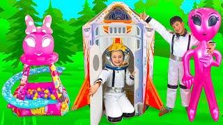Sasha buys new Toys and Flies on a Rocket ship Playhouse