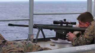 USMC Scout Snipers vs small boat (Barrett M107 .50 BMG Rifles)